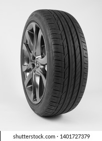 isolated tires and wheels for the car  on a white background