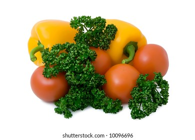 Isolated tomatoes pepper a parsley a close up