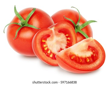 Isolated Tomatoes. Two whole Tomatoes and slices (half) isolated on white, with clipping path