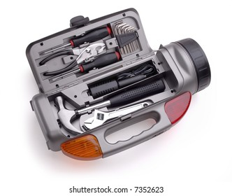 an isolated tools kit in a white background