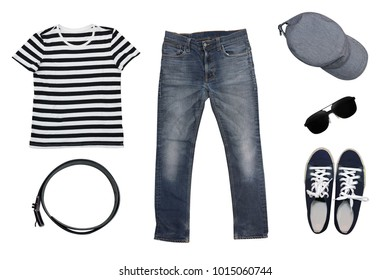 isolated top view of men fashions and clothes