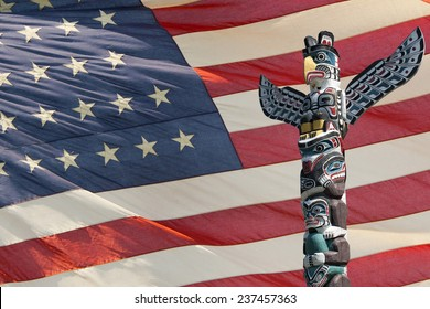 isolated totem wood pole on america star and stripes flag background
