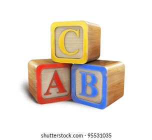 Isolated toy cubes a b c