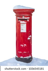 Isolated Traditional Red British Royal Mail Post Box In The Snow