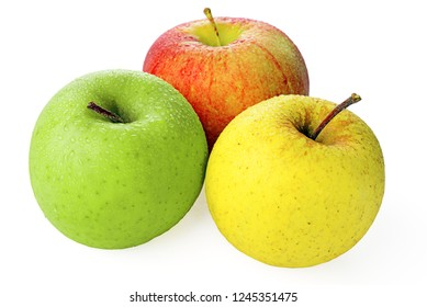 isolated tricolor apples