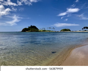 isolated tropical beaches with coconut palms in the Far East in the Philippine islands