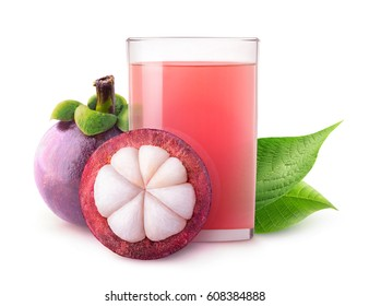 Isolated tropical drink. Glass of mangosteen juice isolated on white background with clipping path