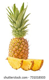 Isolated tropical fruits. Pineapple solated on white background with clipping path.