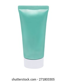 isolated Tube for Cosmetic Package in green
