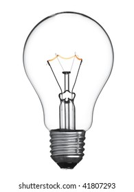 An isolated tungsten light bulb turned on.