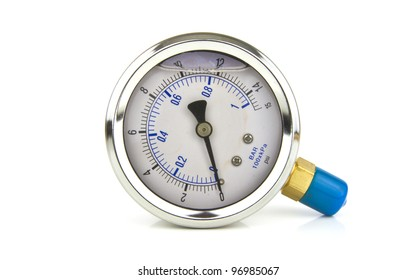 an isolated turbo pressure gauge on white