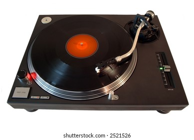 Isolated turntable/record player with spinning 33rpm record