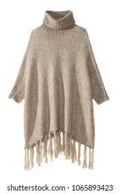 isolated turtleneck cape sweater