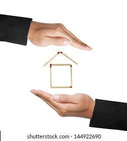 isolated two business hand protect house
