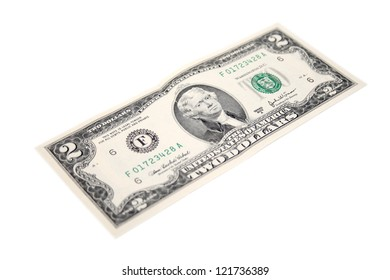 An isolated two dollars bill.