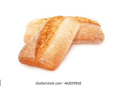 Isolated two freshly baked loaf of traditional italian bread ciabatta on white background. Design element for bakery product label, catalog print, web use.