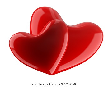 Isolated two hearts on white background. 3D image.