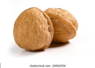 Isolated two walnuts on white background