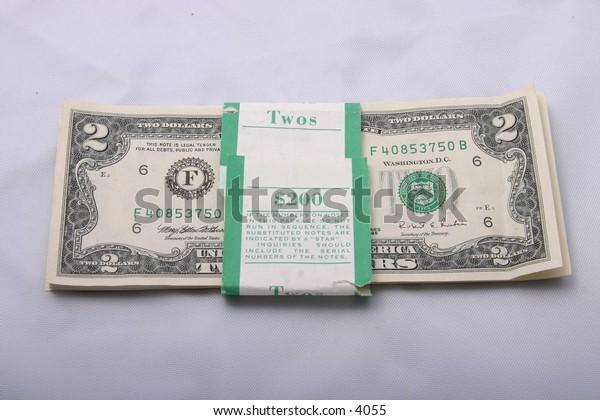 isolated two-dollar American bills