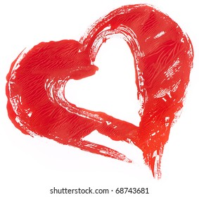 isolated untidily pained red heart on white