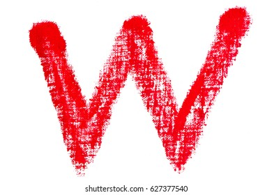isolated uppercase letter W made of red lipstick with fabric texture
