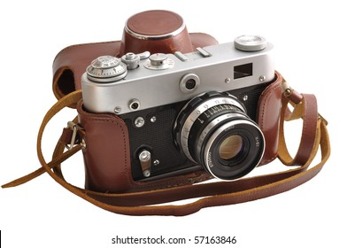 Isolated used old-fashioned film photo-camera in leather case