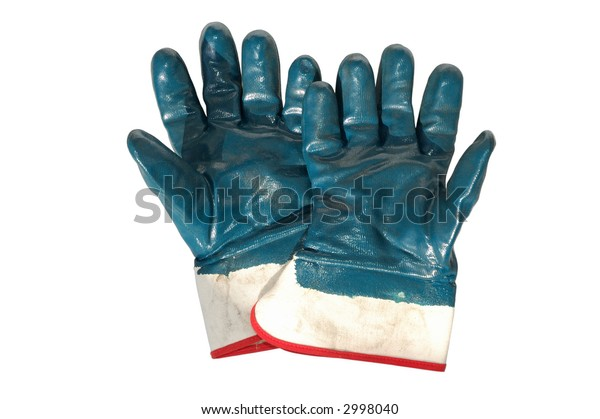 isolated used work gloves