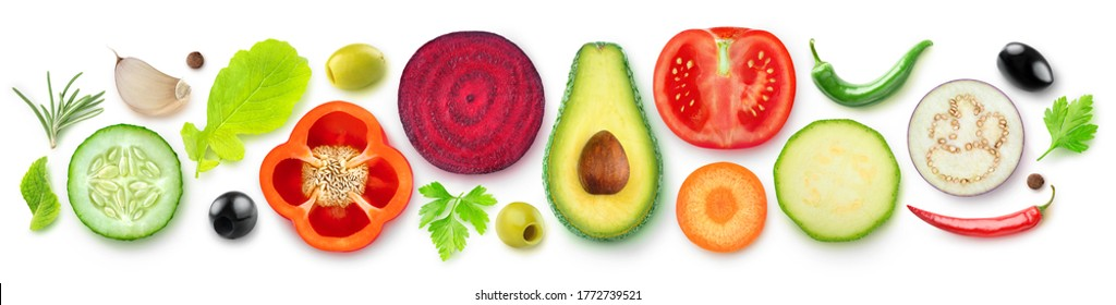 Isolated vegetable halves. Raw cut vegetables top view (beetroot, zucchini, carrot, avocado, bell pepper, cucumber, eggplant, tomato, spices and herbs) isolated on white background