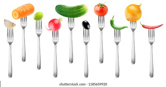 Isolated vegetables collection. Whole tomato, cucumber, garlic, carrot, olives, radish, peppers and onion on forks isolated on white background with clipping path