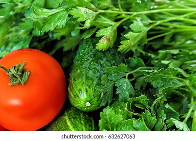 Isolated vegetables. Fresh cucumber and tomato , isolated on white background