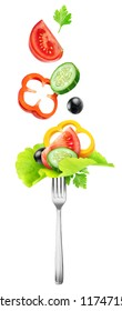 Isolated vegetables. Fresh salad components (tomato, cucumber, yellow bell pepper, lettuce and black olives) over a fork isolated on white background with clipping path
