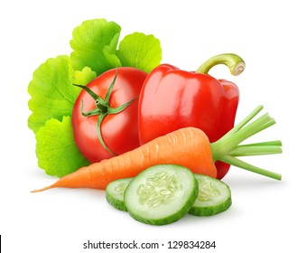 Isolated vegetables. Fresh tomato, cut cucumber, bell pepper, carrot and lettuce leaf (salad ingredients) isolated on white background