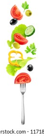 Isolated vegetables mix. Fresh salad components (tomato, cucumber, bell pepper, lettuce and olives) flying over a fork isolated on white background with clipping path