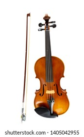 An isolated vertical image of violin, string music instrument in orchestra.