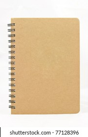Isolated vertical recycle paper note book on white background