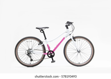 Isolated View 24 Inch Girl Bicycle White and Magenta