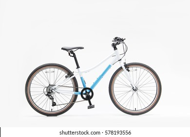Isolated View 24 Inch Girl Bicycle White and Cyan