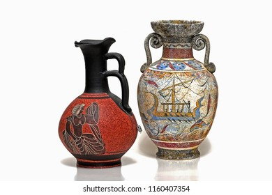 Isolated view to the most common greek souvenirs, the ceramic jugs