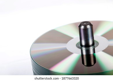 Isolated view of a stack of DVDs in a studio environment