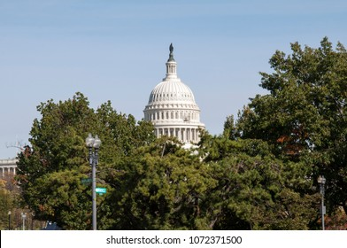 Isolated view of the United States Capitol dome framed by a grove of trees at Independence and Maryland Avenues in Washington DC.