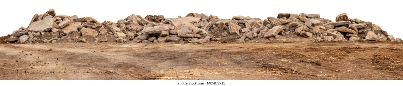 Isolated views of debris from concrete roads that were demolished, destroyed and left on the ground for construction.