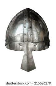 Isolated Viking Style Medieval Suite Of Armour Helmet With Nose Protector On White Background