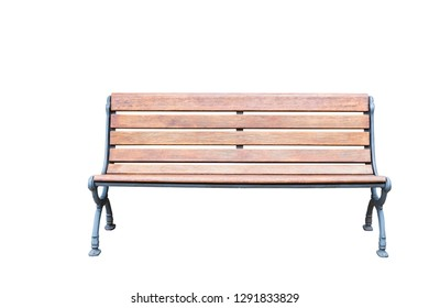 Isolated vintage metal and wooden bench on white with clipping path