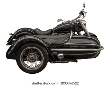 Isolated Vintage Motorcycle With Sidecar On A White Background