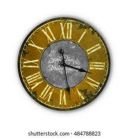 Isolated Vintage Old Yellow Orange Clock on a white background
