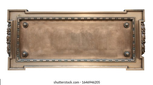 Isolated Vintage Ornate Gold Colored Plaque, Blank For Your Text - Shutterstock ID 1646946205