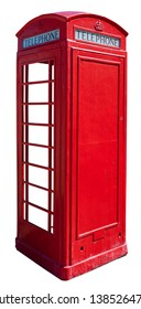 Isolated vintage red London phone booth. Isolated. Rear and side view.