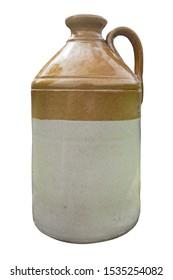 Isolated Vintage Retro Stoneware Earthenware Whiskey Or Moonshine Shoulder Jug