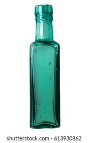 Isolated Vintage Square Green Glass Bottle On White Background