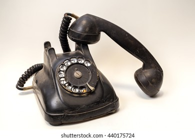 isolated vintage telephone on white background, thailand